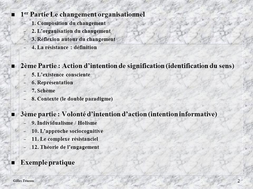 Gilles Teneau 2 n 1 er Partie Le changement organisationnel – 1. Composition du changement – 2. Lorganisation du changement – 3. Réflexion autour du c