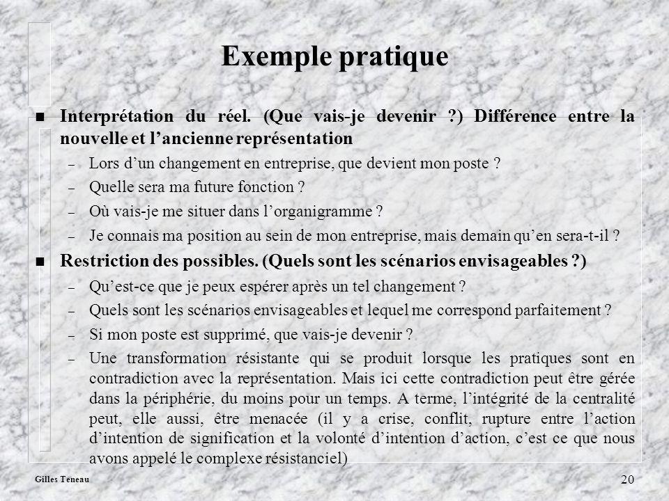 Gilles Teneau 20 Exemple pratique n Interprétation du réel. (Que vais-je devenir ?) Différence entre la nouvelle et lancienne représentation – Lors du