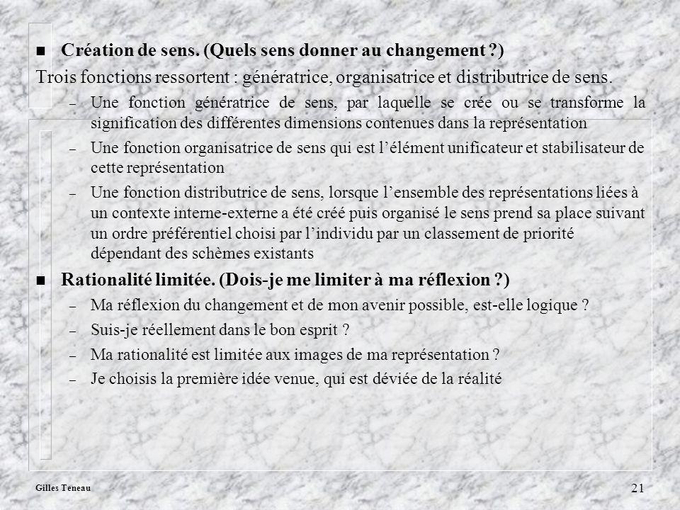 Gilles Teneau 21 n Création de sens. (Quels sens donner au changement ?) Trois fonctions ressortent : génératrice, organisatrice et distributrice de s