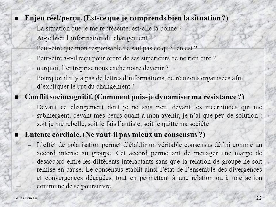 Gilles Teneau 22 n Enjeu réel/perçu. (Est-ce que je comprends bien la situation ?) – La situation que je me représente, est-elle la bonne ? – Ai-je bi