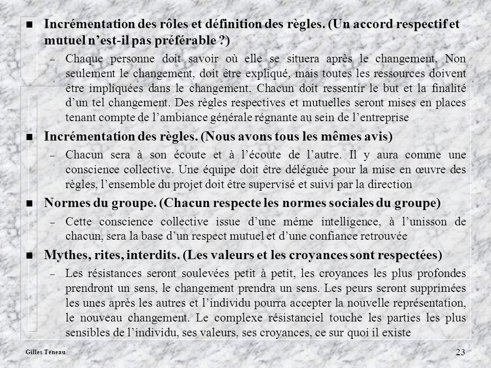Gilles Teneau 23 n Incrémentation des rôles et définition des règles. (Un accord respectif et mutuel nest-il pas préférable ?) – Chaque personne doit