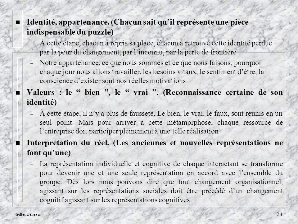 Gilles Teneau 24 n Identité, appartenance. (Chacun sait quil représente une pièce indispensable du puzzle) – À cette étape, chacun a repris sa place,