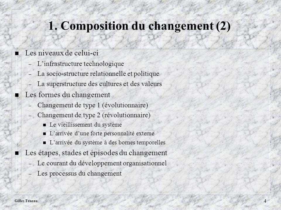 Gilles Teneau 4 1. Composition du changement (2) n Les niveaux de celui-ci – Linfrastructure technologique – La socio-structure relationnelle et polit