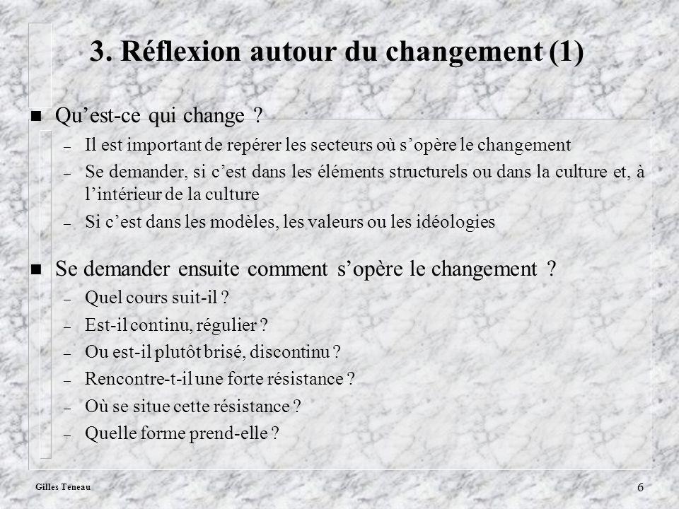 Gilles Teneau 6 3. Réflexion autour du changement (1) n Quest-ce qui change ? – Il est important de repérer les secteurs où sopère le changement – Se
