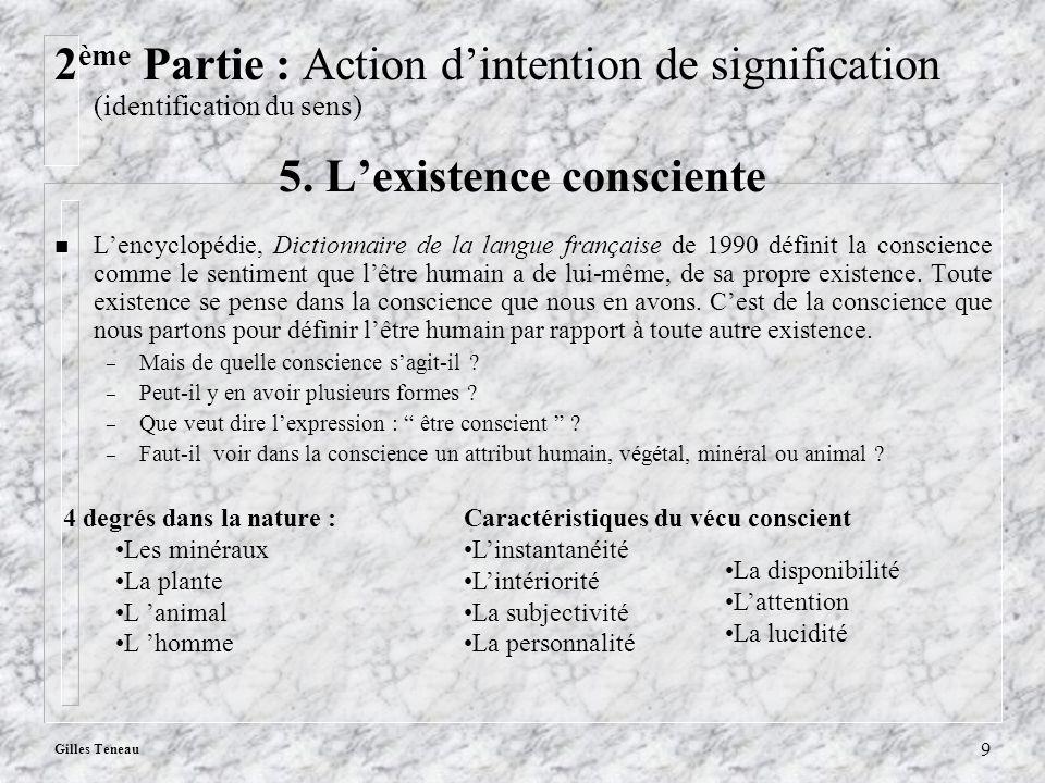 Gilles Teneau 9 2 ème Partie : Action dintention de signification (identification du sens) 5. Lexistence consciente n Lencyclopédie, Dictionnaire de l