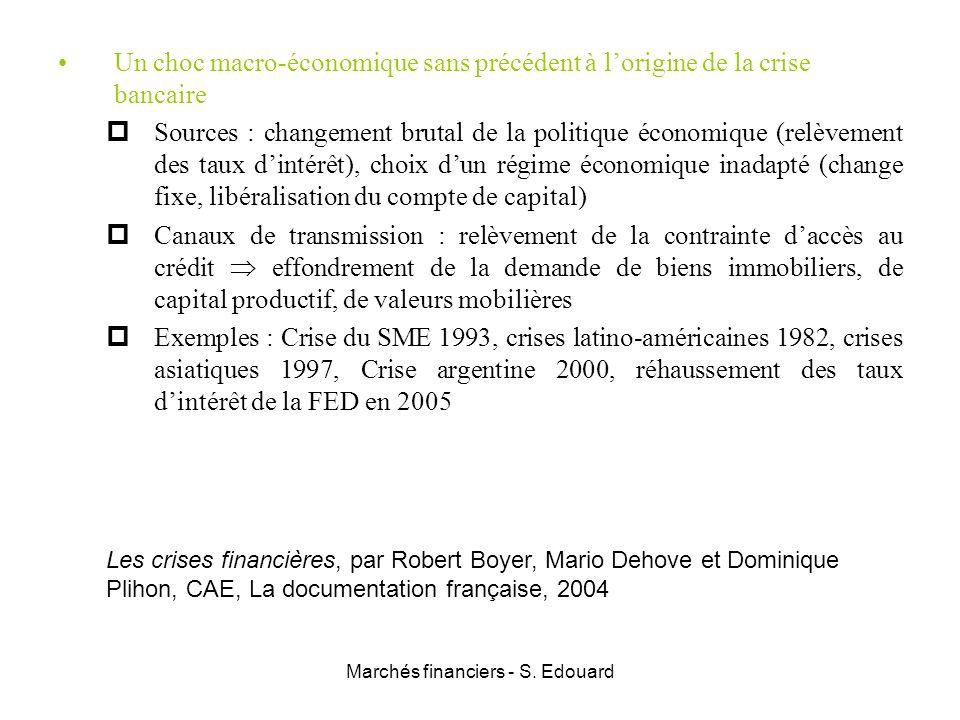Marchés financiers - S. Edouard Un choc macro-économique sans précédent à lorigine de la crise bancaire Sources : changement brutal de la politique éc