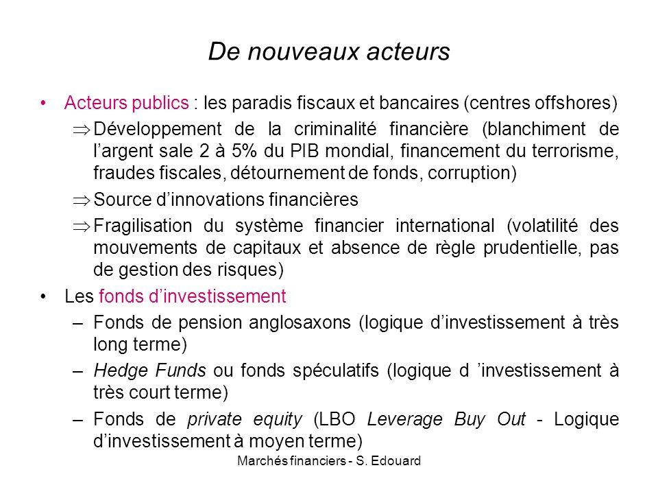 Marchés financiers - S. Edouard De nouveaux acteurs Acteurs publics : les paradis fiscaux et bancaires (centres offshores) Développement de la crimina