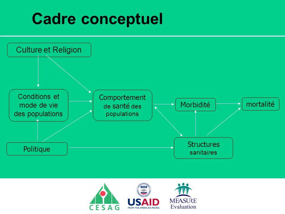 Séminaire Suivi / Evaluation des programmes de santé Dakar, Sénégal, 18 juin au 6 juillet 2007 Cadre conceptuel mortalité Culture et Religion Politiqu