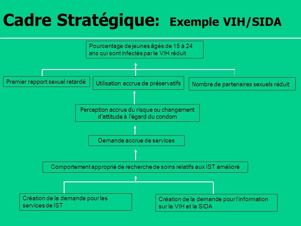 Séminaire Suivi / Evaluation des programmes de santé Dakar, Sénégal, 18 juin au 6 juillet 2007 Cadre Stratégique : Exemple VIH/SIDA Pourcentage de jeu