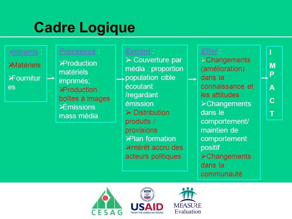 Séminaire Suivi / Evaluation des programmes de santé Dakar, Sénégal, 18 juin au 6 juillet 2007 Cadre Logique Intrants : Matériels Fournitur es Process
