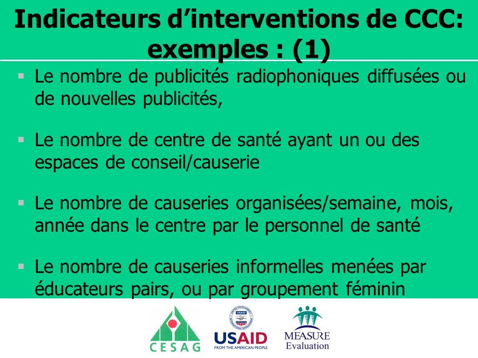 Séminaire Suivi / Evaluation des programmes de santé Dakar, Sénégal, 18 juin au 6 juillet 2007 Indicateurs dinterventions de CCC: exemples : (1) Le no