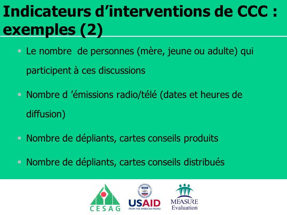 Séminaire Suivi / Evaluation des programmes de santé Dakar, Sénégal, 18 juin au 6 juillet 2007 Indicateurs dinterventions de CCC : exemples (2) Le nom