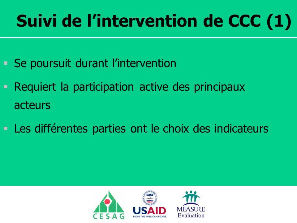 Séminaire Suivi / Evaluation des programmes de santé Dakar, Sénégal, 18 juin au 6 juillet 2007 Suivi de lintervention de CCC (1) Se poursuit durant li