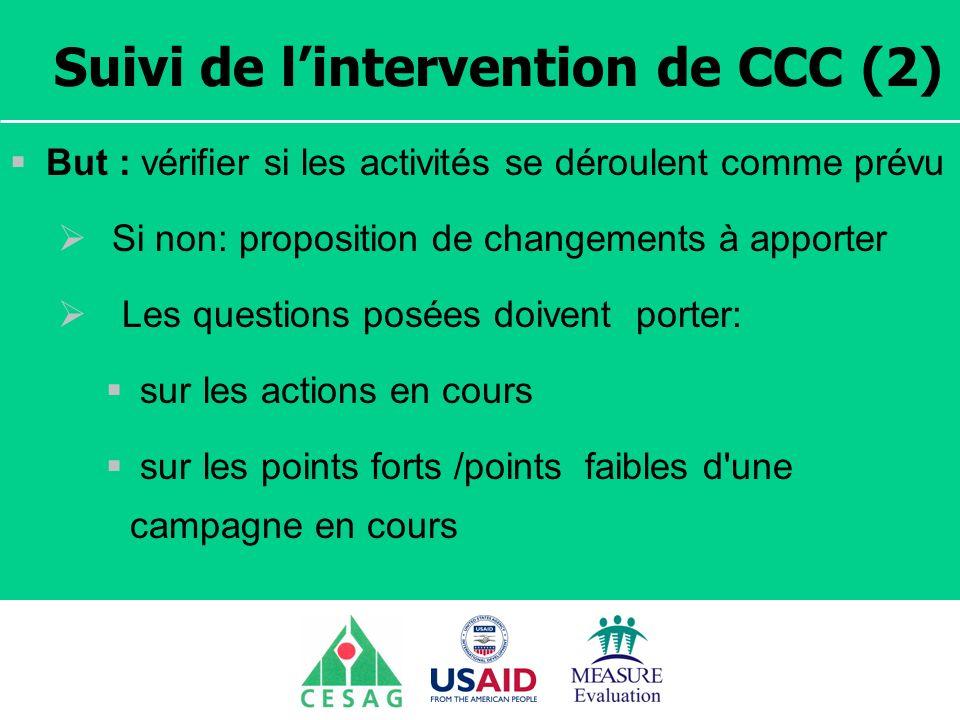 Séminaire Suivi / Evaluation des programmes de santé Dakar, Sénégal, 18 juin au 6 juillet 2007 Suivi de lintervention de CCC (2) But : vérifier si les
