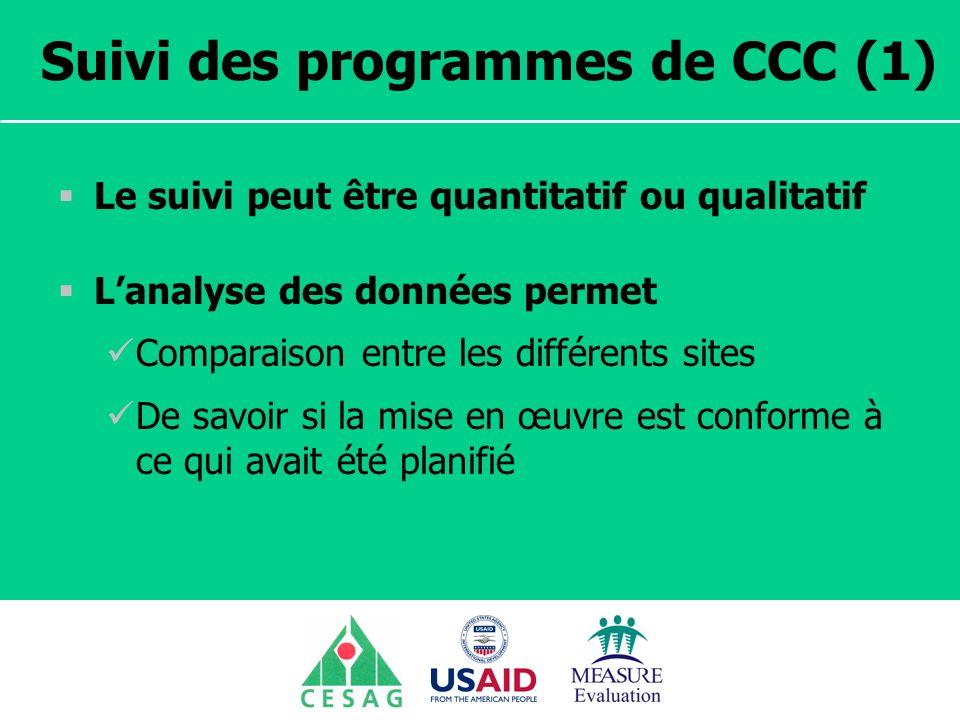 Séminaire Suivi / Evaluation des programmes de santé Dakar, Sénégal, 18 juin au 6 juillet 2007 Suivi des programmes de CCC (1) Le suivi peut être quantitatif ou qualitatif Lanalyse des données permet Comparaison entre les différents sites De savoir si la mise en œuvre est conforme à ce qui avait été planifié