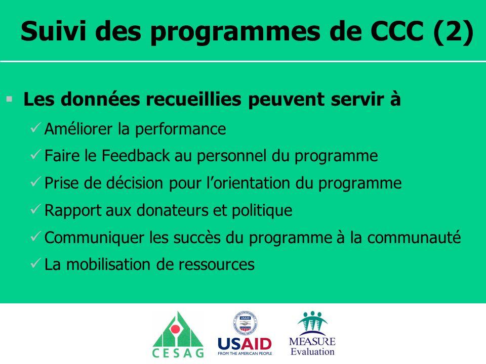 Séminaire Suivi / Evaluation des programmes de santé Dakar, Sénégal, 18 juin au 6 juillet 2007 Suivi des programmes de CCC (2) Les données recueillies
