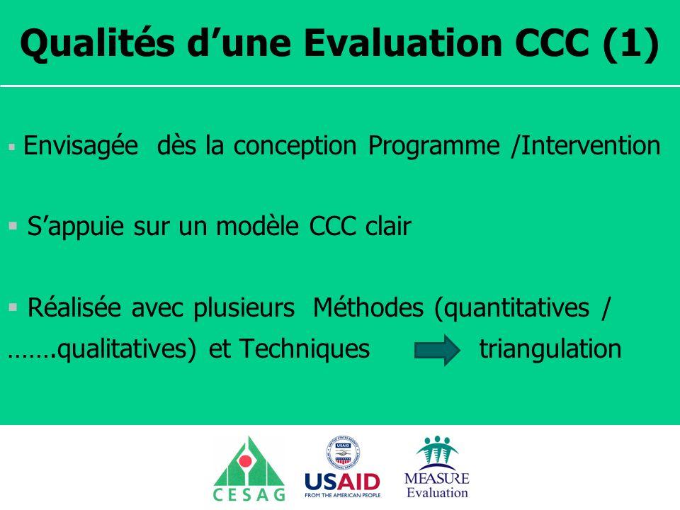 Séminaire Suivi / Evaluation des programmes de santé Dakar, Sénégal, 18 juin au 6 juillet 2007 Qualités dune Evaluation CCC (1) Envisagée dès la conce