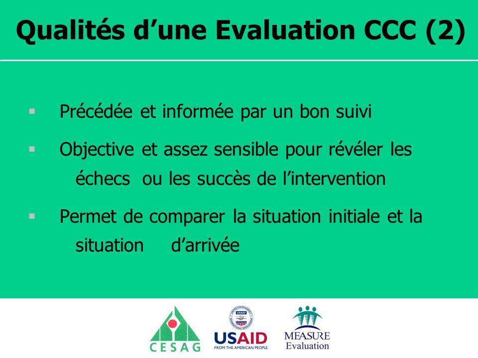 Séminaire Suivi / Evaluation des programmes de santé Dakar, Sénégal, 18 juin au 6 juillet 2007 Qualités dune Evaluation CCC (2) Précédée et informée p