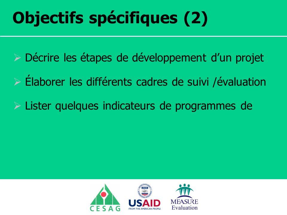 Séminaire Suivi / Evaluation des programmes de santé Dakar, Sénégal, 18 juin au 6 juillet 2007 Objectifs spécifiques (2) Décrire les étapes de dévelop