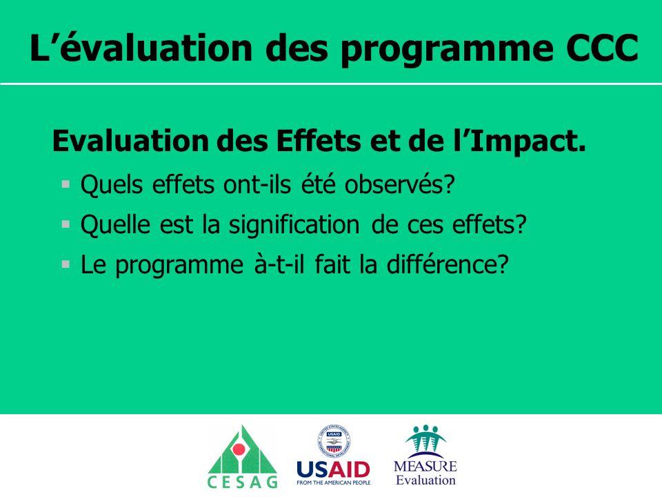 Séminaire Suivi / Evaluation des programmes de santé Dakar, Sénégal, 18 juin au 6 juillet 2007 Lévaluation des programme CCC Evaluation des Effets et de lImpact.