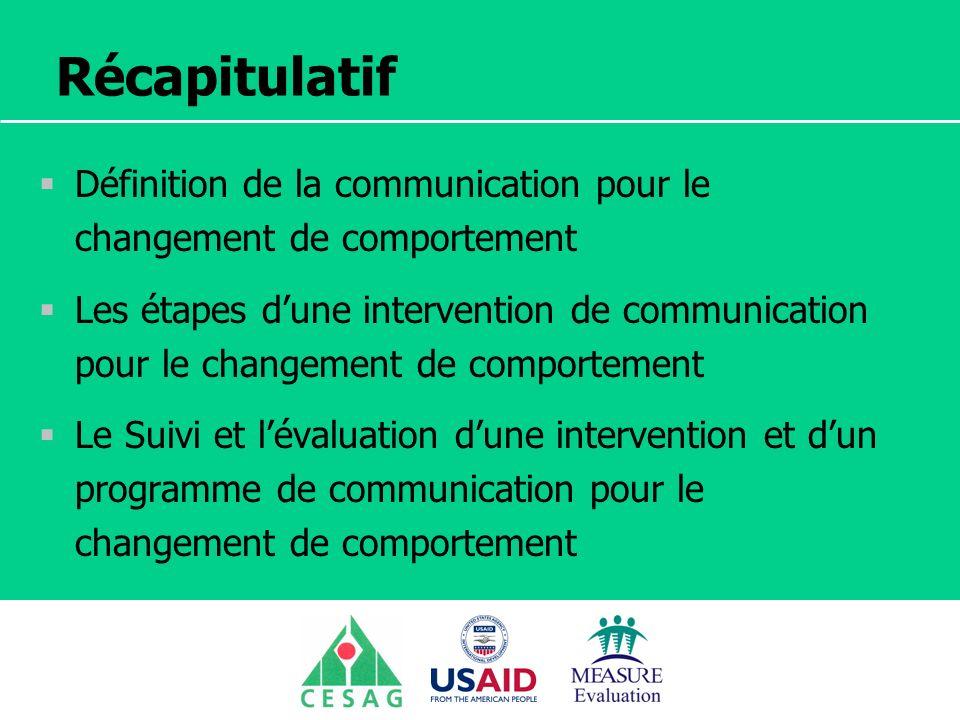 Séminaire Suivi / Evaluation des programmes de santé Dakar, Sénégal, 18 juin au 6 juillet 2007 Récapitulatif Définition de la communication pour le ch