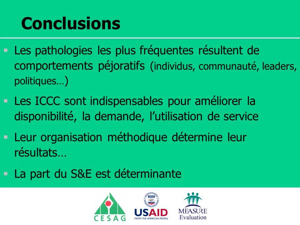 Séminaire Suivi / Evaluation des programmes de santé Dakar, Sénégal, 18 juin au 6 juillet 2007 Conclusions Les pathologies les plus fréquentes résulte