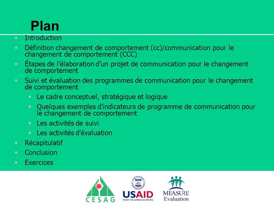 Séminaire Suivi / Evaluation des programmes de santé Dakar, Sénégal, 18 juin au 6 juillet 2007 Exercice La communication pour le changement de comportement étant transversale, chaque groupe choisira une intervention de ccc en rapport avec le plan de Suivi et Evaluation en cours délaboration.