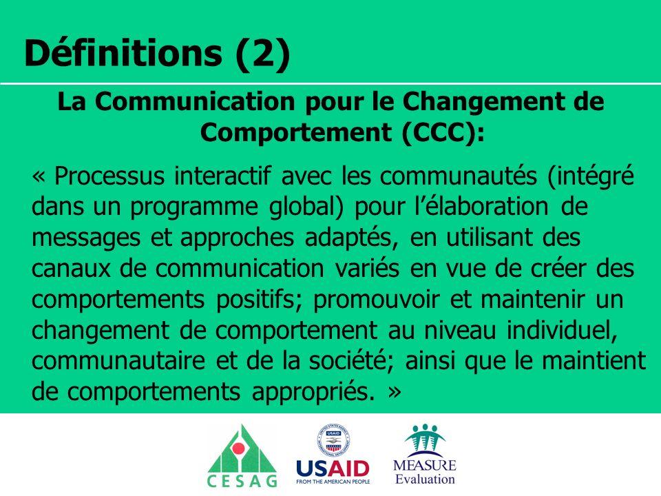Séminaire Suivi / Evaluation des programmes de santé Dakar, Sénégal, 18 juin au 6 juillet 2007 Définitions (2) La Communication pour le Changement de