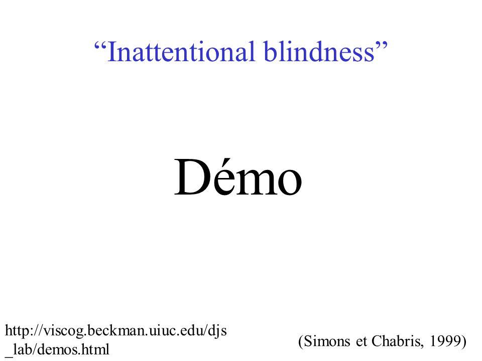 Inattentional blindness (Simons et Chabris, 1999) Démo http://viscog.beckman.uiuc.edu/djs _lab/demos.html