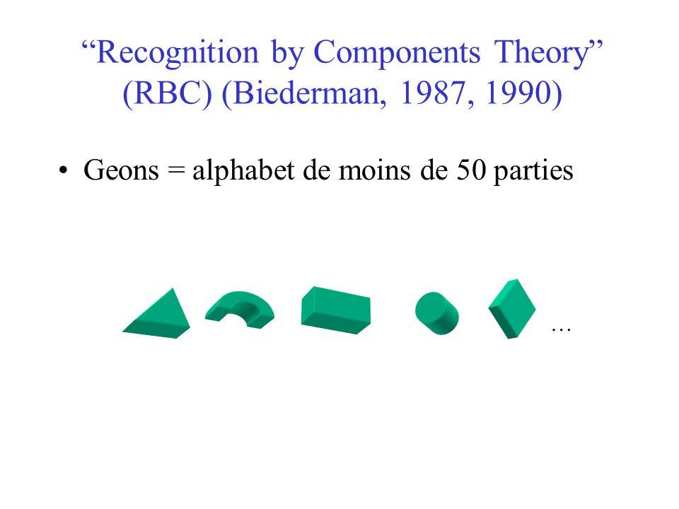 Recognition by Components Theory (RBC) (Biederman, 1987, 1990) Geons = alphabet de moins de 50 parties …