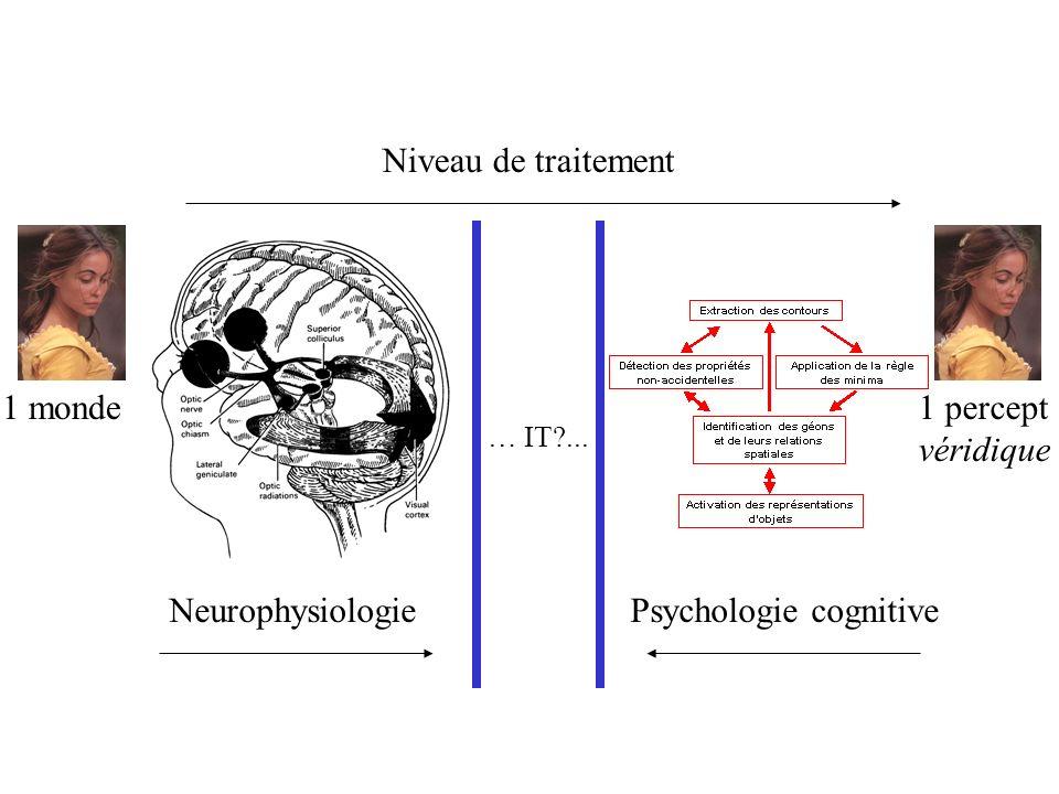 1 monde Neurophysiologie 1 percept véridique Psychologie cognitive Niveau de traitement … IT?...