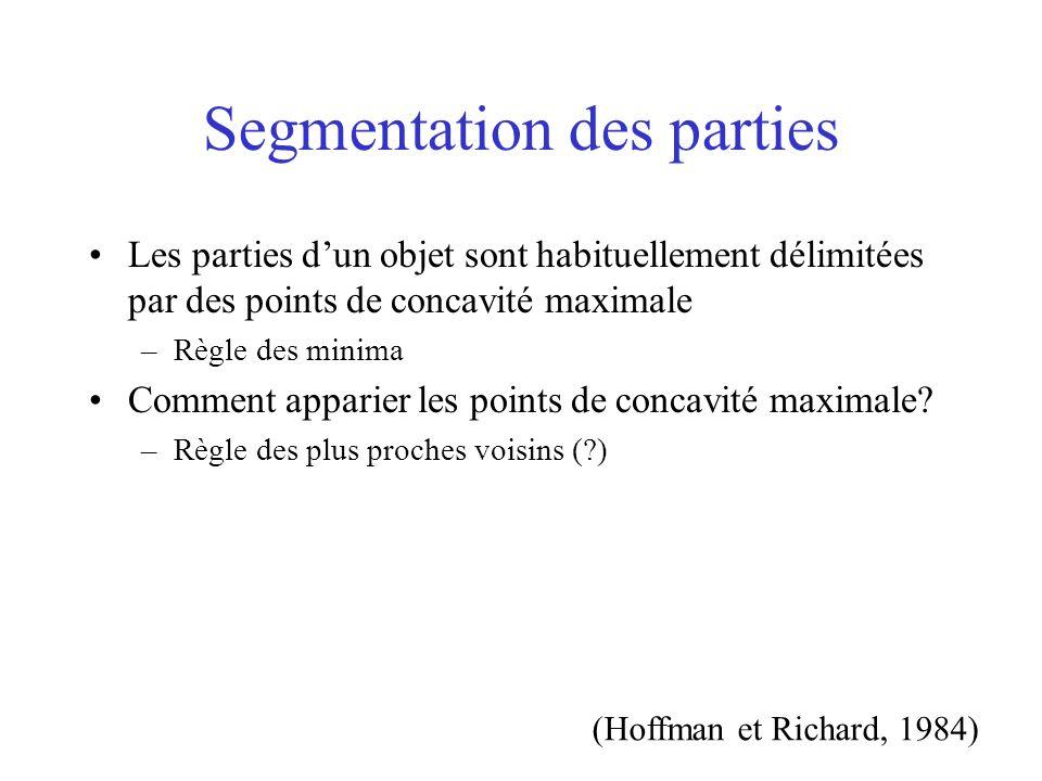 Segmentation des parties Les parties dun objet sont habituellement délimitées par des points de concavité maximale –Règle des minima Comment apparier