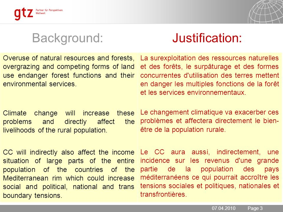 20.05.2014 Seite 3 Page 3 Background: Justification: 07.04.2010 Overuse of natural resources and forests, overgrazing and competing forms of land use endanger forest functions and their environmental services.