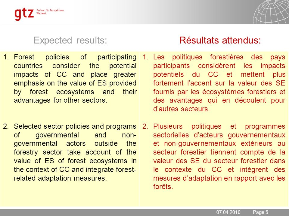 20.05.2014 Seite 5 Page 5 Expected results: Résultats attendus: 1.Forest policies of participating countries consider the potential impacts of CC and place greater emphasis on the value of ES provided by forest ecosystems and their advantages for other sectors.