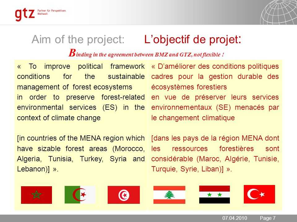 20.05.2014 Seite 7 Page 7 Aim of the project: Lobjectif de projet : B inding in the agreement between BMZ and GTZ, not flexible ! « To improve politic
