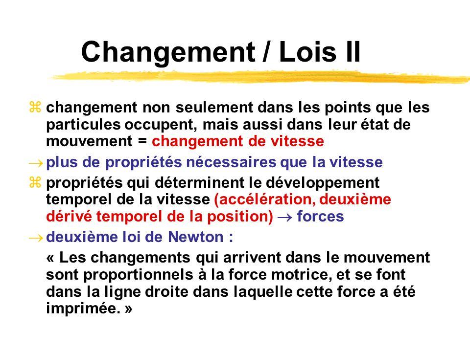 Changement / Lois II changement non seulement dans les points que les particules occupent, mais aussi dans leur état de mouvement = changement de vite