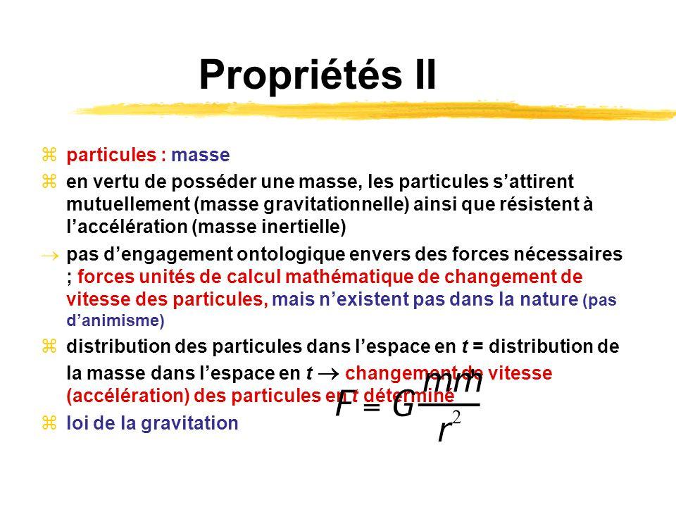 Propriétés II particules : masse en vertu de posséder une masse, les particules sattirent mutuellement (masse gravitationnelle) ainsi que résistent à
