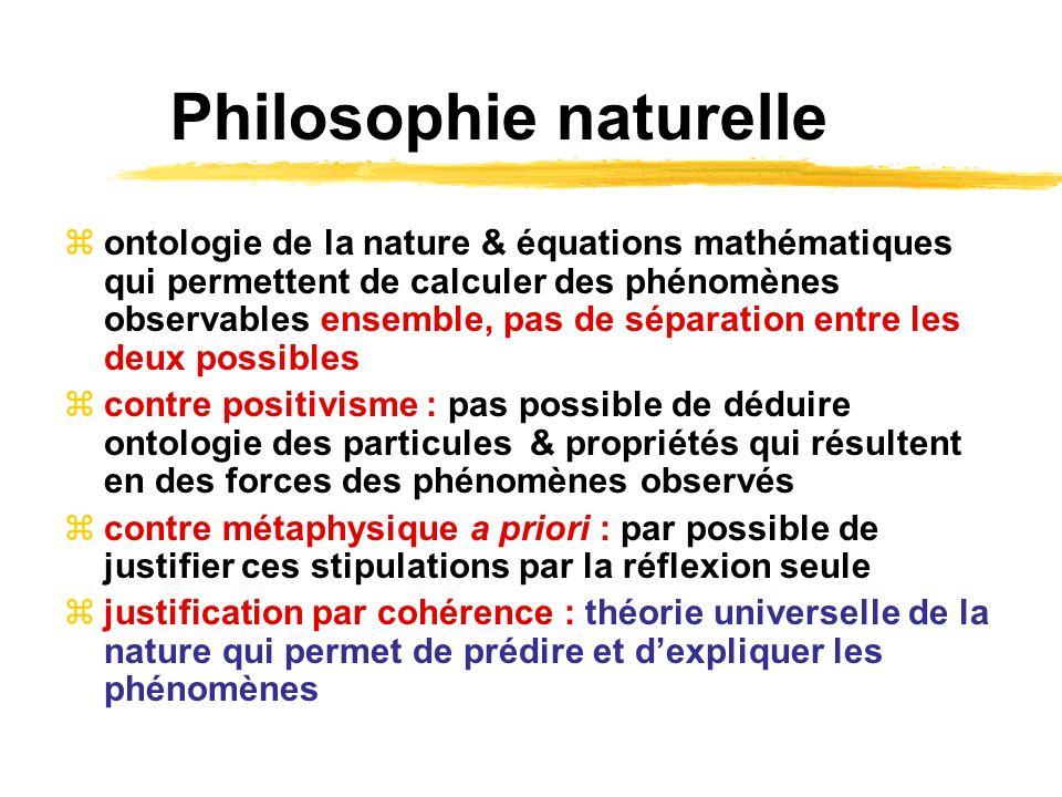 Philosophie naturelle ontologie de la nature & équations mathématiques qui permettent de calculer des phénomènes observables ensemble, pas de séparati