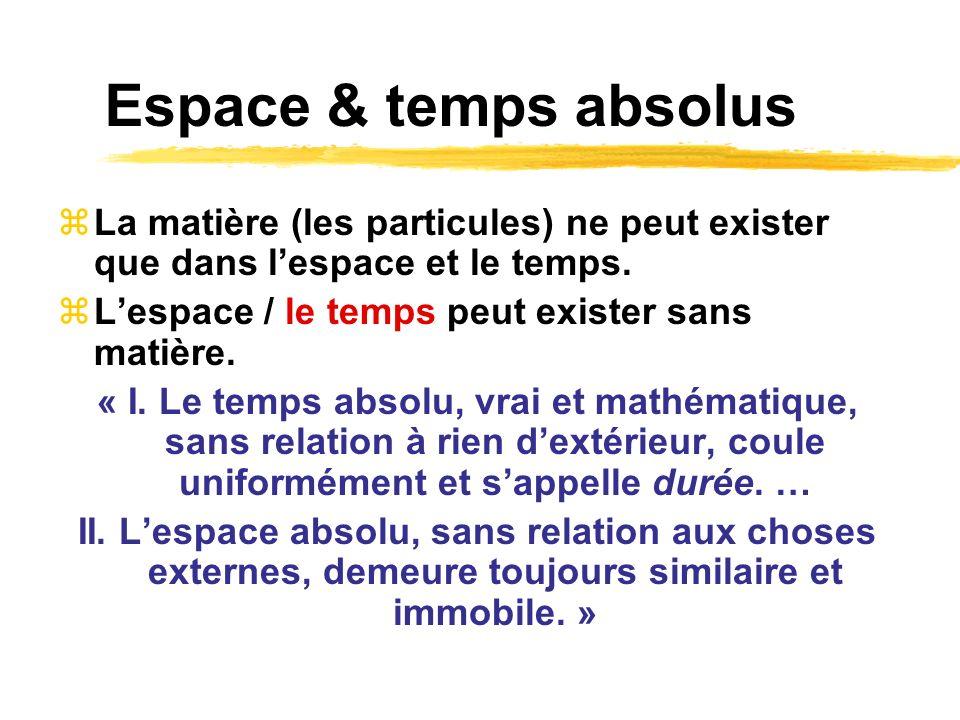 Espace & temps absolus La matière (les particules) ne peut exister que dans lespace et le temps. Lespace / le temps peut exister sans matière. « I. Le