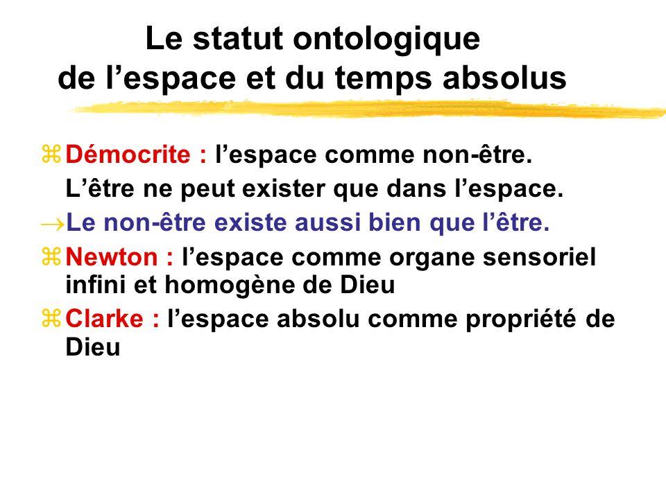 Le statut ontologique de lespace et du temps absolus Démocrite : lespace comme non-être. Lêtre ne peut exister que dans lespace. Le non-être existe au