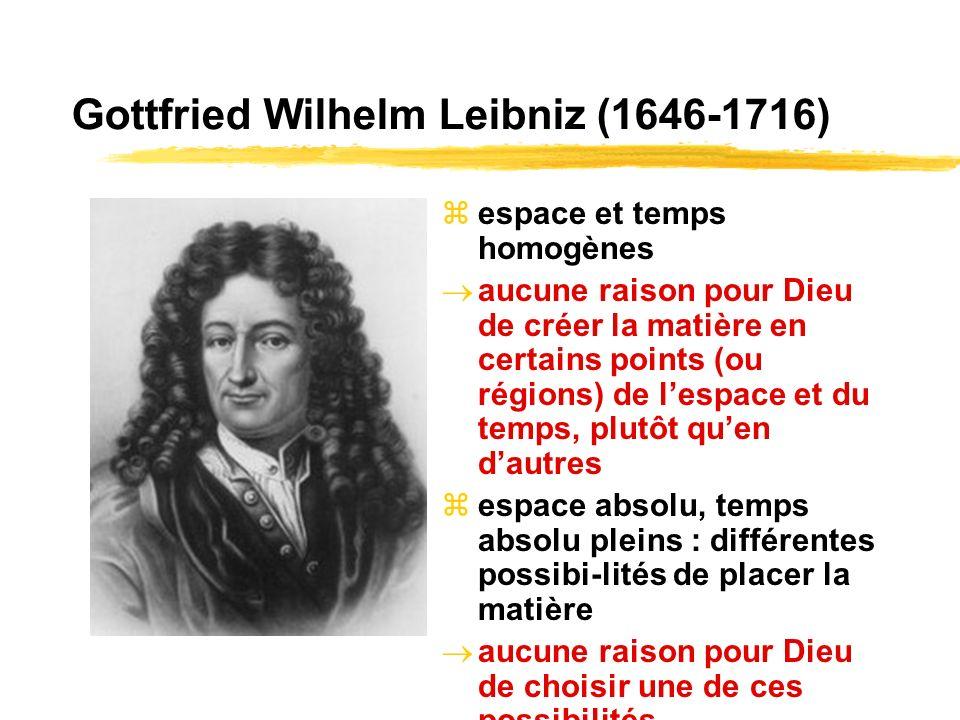 Gottfried Wilhelm Leibniz (1646-1716) espace et temps homogènes aucune raison pour Dieu de créer la matière en certains points (ou régions) de lespace