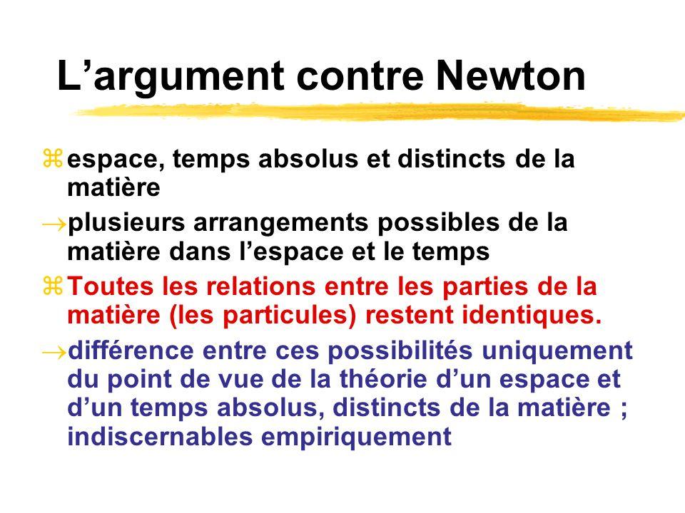 Largument contre Newton espace, temps absolus et distincts de la matière plusieurs arrangements possibles de la matière dans lespace et le temps Toute