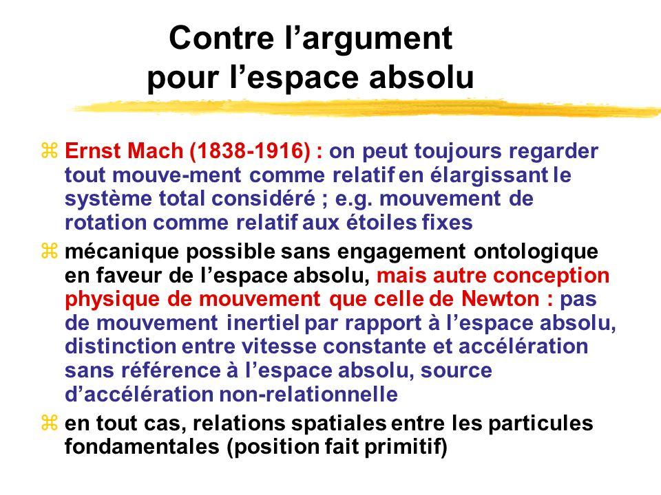 Contre largument pour lespace absolu Ernst Mach (1838-1916) : on peut toujours regarder tout mouve-ment comme relatif en élargissant le système total
