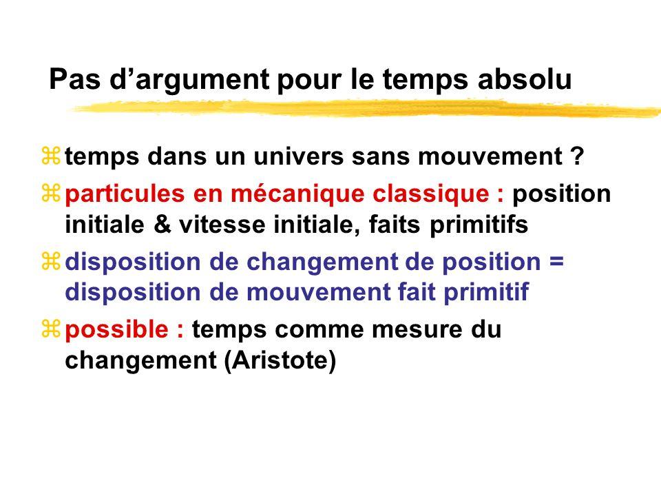 Pas dargument pour le temps absolu temps dans un univers sans mouvement ? particules en mécanique classique : position initiale & vitesse initiale, fa