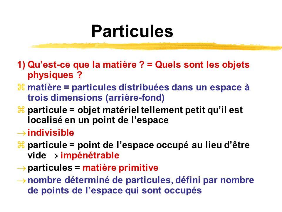 Particules 1)Quest-ce que la matière ? = Quels sont les objets physiques ? matière = particules distribuées dans un espace à trois dimensions (arrière