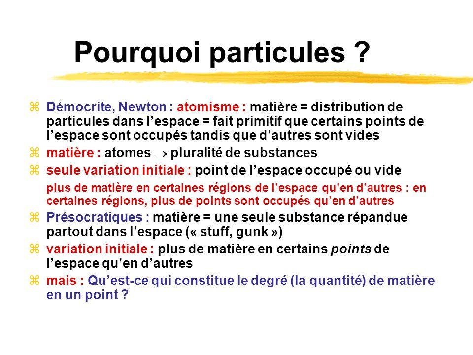 Pourquoi particules ? Démocrite, Newton : atomisme : matière = distribution de particules dans lespace = fait primitif que certains points de lespace