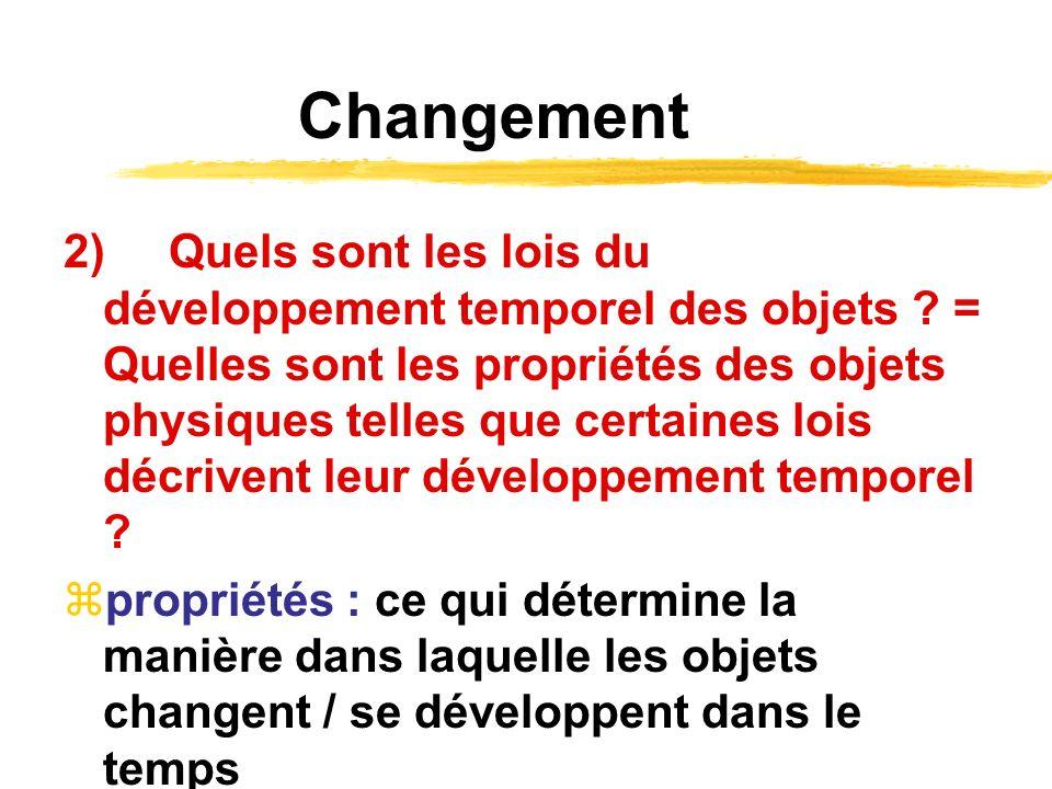 Changement 2)Quels sont les lois du développement temporel des objets ? = Quelles sont les propriétés des objets physiques telles que certaines lois d