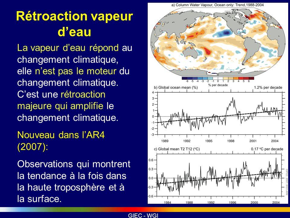 GIEC - WGI La vapeur deau répond au changement climatique, elle nest pas le moteur du changement climatique. Cest une rétroaction majeure qui amplifie
