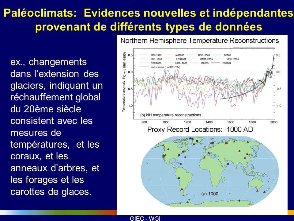 GIEC - WGI ex., changements dans lextension des glaciers, indiquant un réchauffement global du 20ème siècle consistent avec les mesures de température
