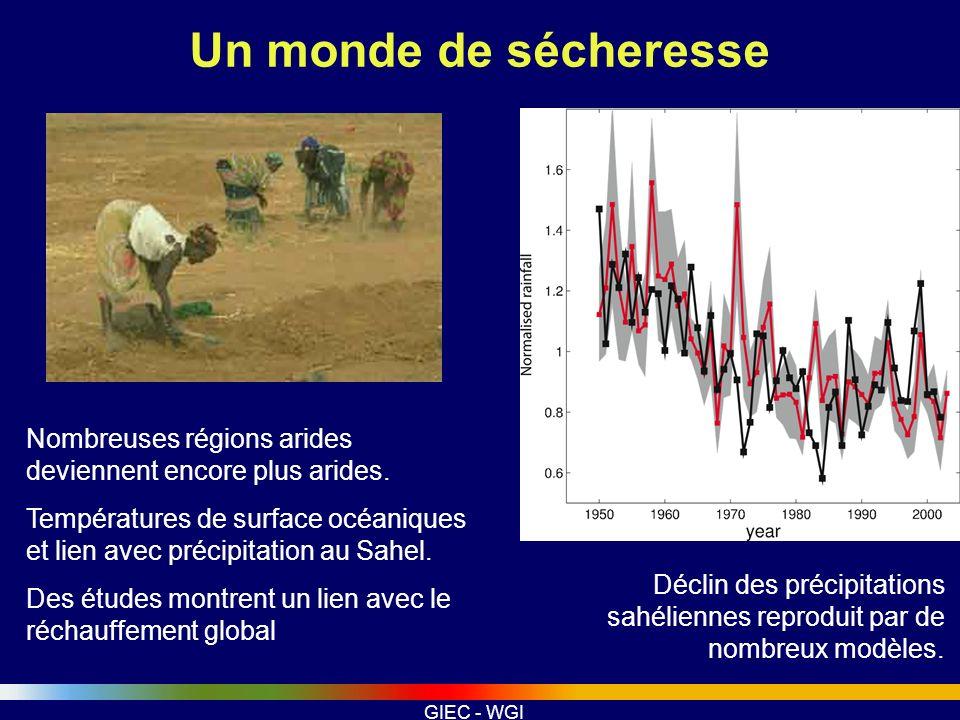 GIEC - WGI Un monde de sécheresse Nombreuses régions arides deviennent encore plus arides. Températures de surface océaniques et lien avec précipitati